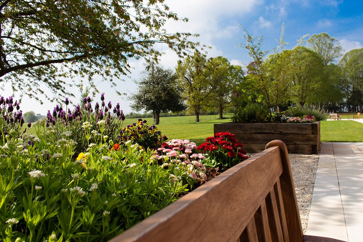 Enjoying the gardens during spring 2019 at Peverel Court Care