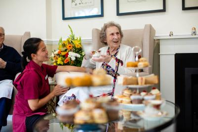 Afternoon tea with residents at Stone House nursing care home near Aylesbury, Buckinghamshire